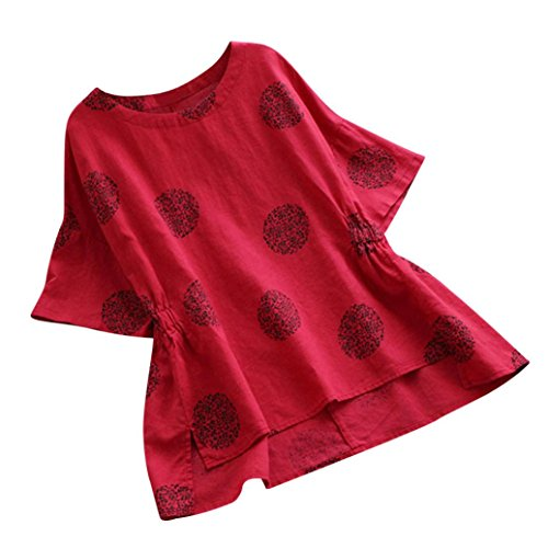 Print Tops,Toimoth Women Plus Size Loose Cotton Short Sleeved Shirt Vintage Blouse(Red,L)