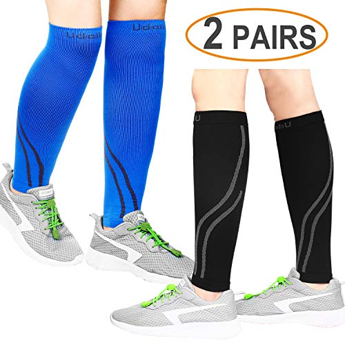 (Udaily Calf Compression Sleeves for Men & Women 2 Pairs (20-30mmhg) - Calf Support Leg Compression Socks for Shin Splint & Calf Pain Relief - Calf Guard for Running, Cycling, Maternity, Travel, Nurses)