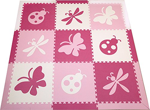 SoftTiles Foam Play Mats- Bug Theme- Butterfly, Ladybug, Dragonfly Interlocking Playmat Tiles with Sloped Borders for Nursery/Playroom, Kids, Toddlers/Infants (Pink, White, Light Pink) SCBUPWC