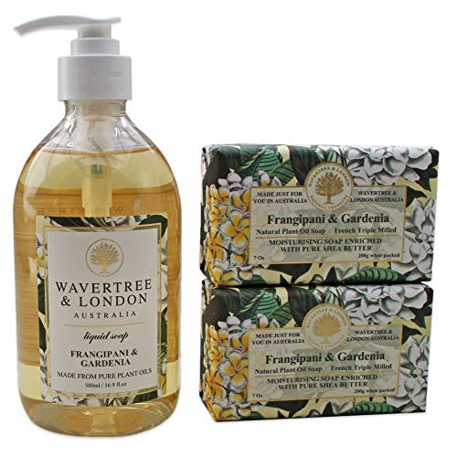 Wavertree & London Frangipani Gardenia - One Liquid soap & 2 Soap Bars