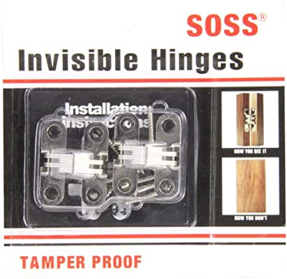 SOSS 203 Zinc Invisible Hinge with Holes for Wood or Metal Applications Mortise