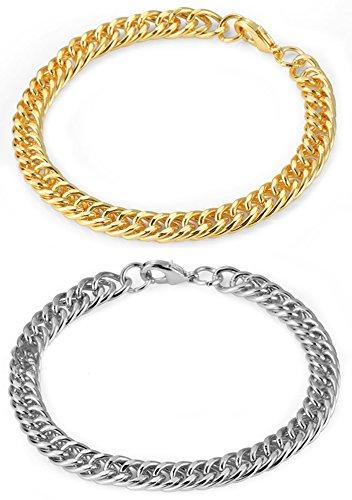 MTFS Unisex Fashion Link Hip Hop Bracelet (2pcs) by MTFS