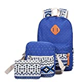 GOODCULLER 3pc Canvas Backpacks Cute Dot Bookbag Shoulder Bag School Backpack (Blue)