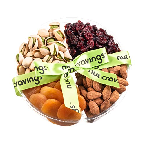 Nut Cravings Holiday Fruit and Nuts Gift Basket   Medium Variety Of 4-Section Gourmet Prime Assorted Dried Fruit tray   Great for Thanksgiving, Christmas, Mothers & Fathers Day