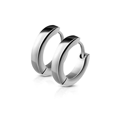 3ae317dd5 Amazon.com: Changgaijewelry Stainless Steel Small Hoop Earrings for Men  Women Cartilage Fashion Huggie Hoops (Silver): Jewelry