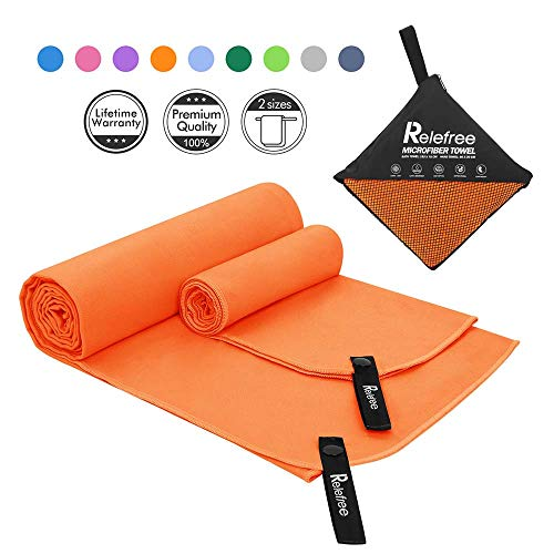 Relefree Microfibre Towel Quick Dry Towels Travel Towels Set of 2 Piece Large and Extra Large Sizes-for Swimming Pool Camping Gym Sports Yoga and Pilates etc