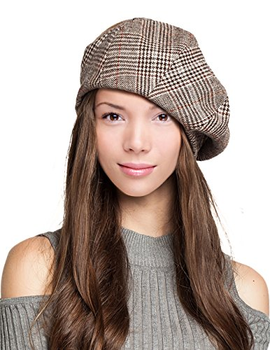 Dahlia Women's Velvet Lined Wool Blend Beret Bow Decorated Painter Plaid - Tan