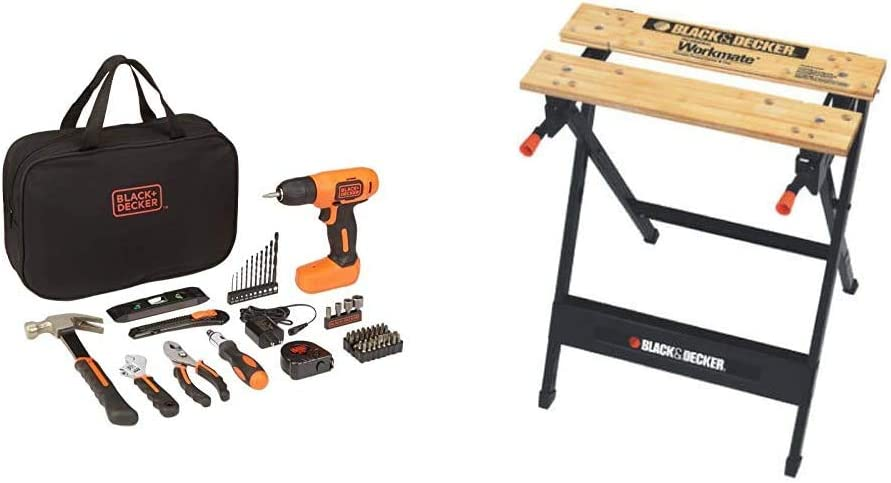 BLACK+DECKER 8V Drill & Home Tool Kit, 57 Piece with Workmate Portable Workbench, 350-Pound Capacity (BDCD8PK & WM125)