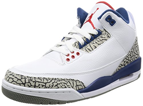 Nike Men's Air Jordan 3 Retro OG White/Fire Red-true Blue - 8 D(M) US