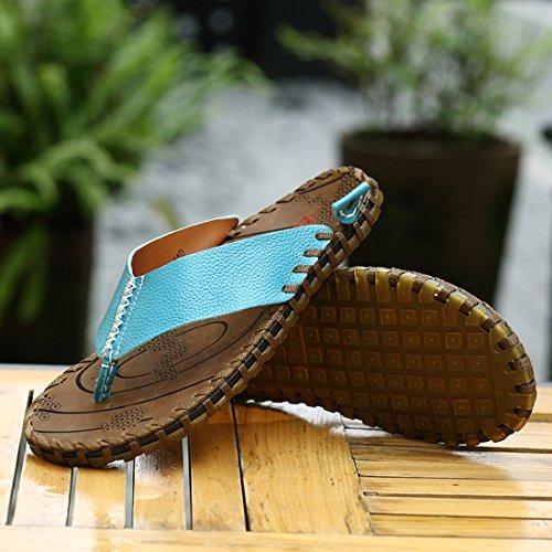 Z.SUO Herren-Leder-Gemütliche Flip-Flop Zehentrenner Sandalen Blau