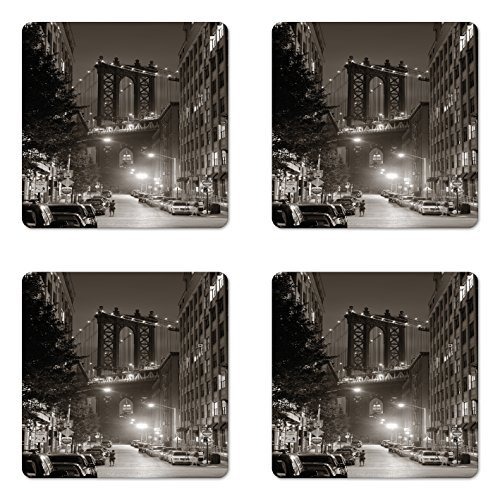 Urban Coaster Set of Four, Manhattan Bridge from Street at Night Downtown New York States United States Photo, Square Non-Slip Rubber Coasters for Drinks, Army Green