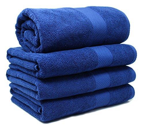 Bath Towel Set 4-Piece – %100 Turkish Cotton – Bath Sheet for Bathroom, Bath, Gym, Pool, Tub- Premium Quality Bath Towels Soft, Thick, Plush, Absorbent (Blue, Bath Towel – Set of 4)