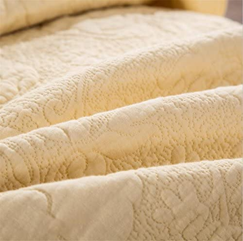 100% Coton Super Soft Brodé à La Main Beige Matelassé Couvre-Lit, Couverture De Genou Air Conditionné Couette 1 Lit Quilt 2 Taie d'oreiller [Queen/King/Double]