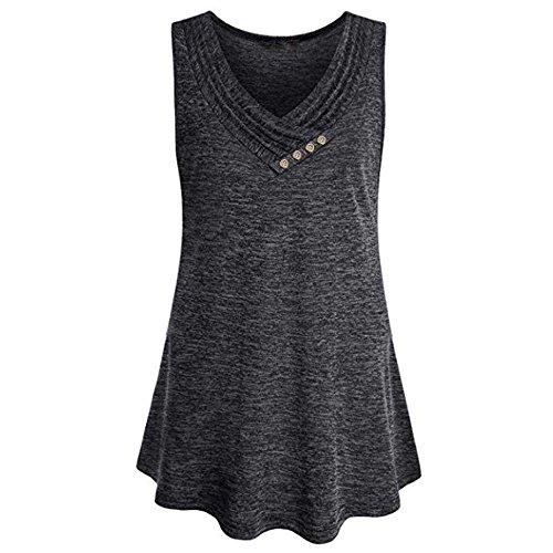 Longra Womens Plus Size Sleeveless V Neck Loose Button Trim Blouse Shirt Lightweight Shirts Women Pretty Tops (Dark Gray, ()