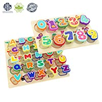 Wooden Puzzles Alphabet Toys for 1 Year Old Girl Boy Gifts(Pack of 2)
