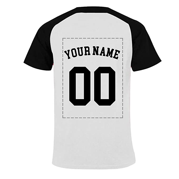 09c2c9082 NICTIME Customized Raglan Baseball Shirts For Men - Add Your Name  Number,Black S
