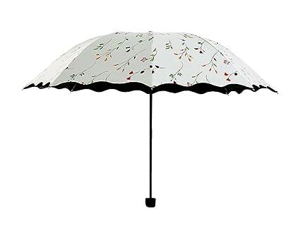 Westeng Paraguas de Viaje Plegable Protección UV resistente al viento y ligero, blanco, compact