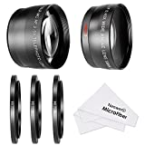 Neewer® 58MM 0.45X Wide Angle Lens and 2.5X Telephoto Lens Kit with 3 Step-up Ring Adapters (49-58mm 52-58mm 55-58mm), Front & Back Lens Covers, Microfiber Cleaning Cloth and Lens Pouches