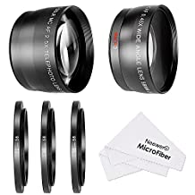 Neewer 58MM 0.45X Wide Angle Lens and 2.5X Telephoto Lens Kit with 3 Step-up Ring Adapters (49-58mm 52-58mm 55-58mm), Front and Back Lens Covers, Microfiber Cleaning Cloth