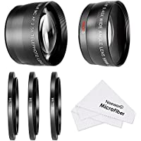Neewer® 58MM 0.45X Wide Angle Lens and 2.5X Telephoto Lens Kit with 3 Step-up Ring Adapters (49-58mm 52-58mm 55-58mm), Front & Back Lens Covers, Microfiber Cleaning Cloth and Lens Pouches Overview Review Image