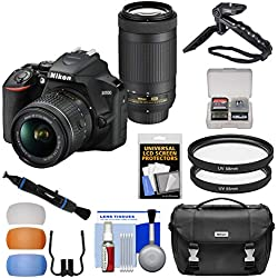 Nikon D3500 Digital SLR Camera & 18-55mm VR & 70-300mm DX AF-P Lenses with Case + Tripod + Filters + Kit