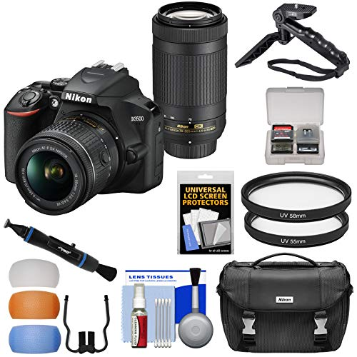 Nikon D3500 Digital SLR Camera & 18-55mm VR & 70-300mm DX AF-P Lenses with Case + Tripod + Filters + Kit
