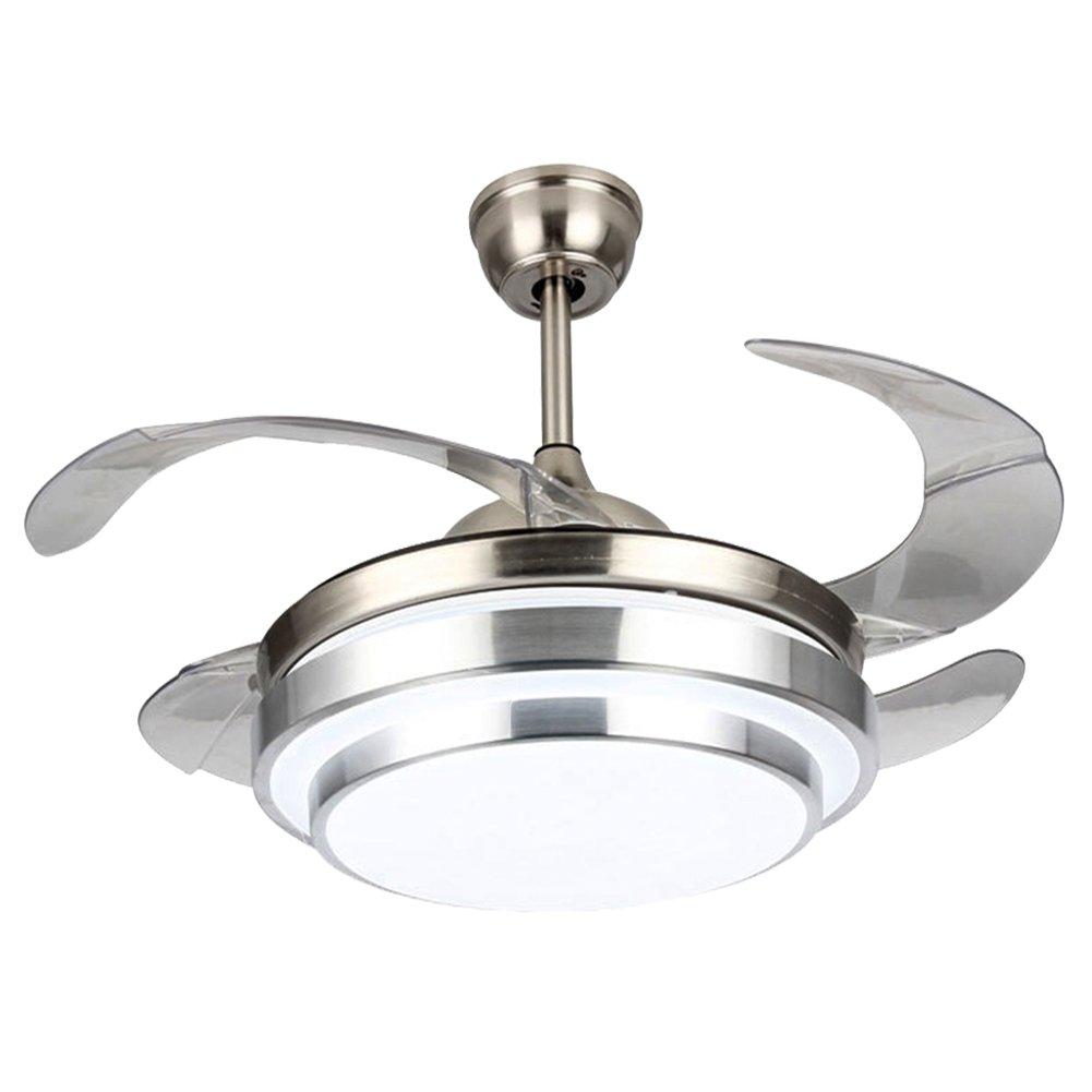 WHYIN Modern 42-in Deckenventilator Licht mit LED-Licht Kit mit Fernbedienung für Esszimmer Fan Kronleuchter Lampe für Restaurant, Arbeitszimmer, Wohnzimmer, Schlafzimmer, Metall, Silber