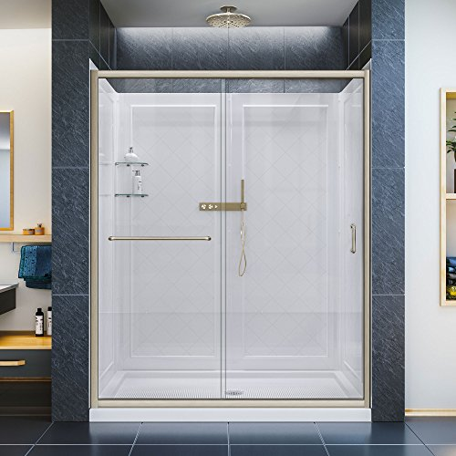 DreamLine Infinity-Z 30 in. D x 60 in. W Kit, with Sliding Shower Door in Brushed Nickel, Center Drain White Acrylic Base and Backwalls
