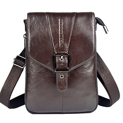 Genda 2Archer Hombres Mini Bolsa de hombro Cuero Flapover Fanny Cinturón de Bolsa (Negro) café