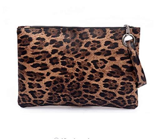 - Dolce Na Womens Oversized Clutch Bag Purse Pu Leather Evening Wristlet Handbag (79 Brown Leopard)