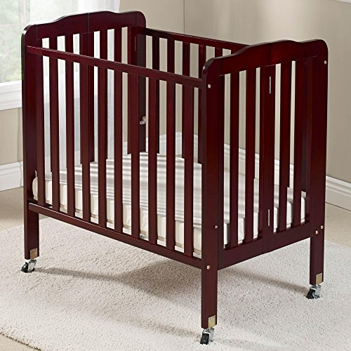 Big Oshi Angela Portable, Folding Baby Crib Frame on Wheels - Adjustable Mattress Height, Low to High - Modern, Unisex Wood Design for Boys or Girls - Sturdy, Lightweight, Side Crib, Cherry