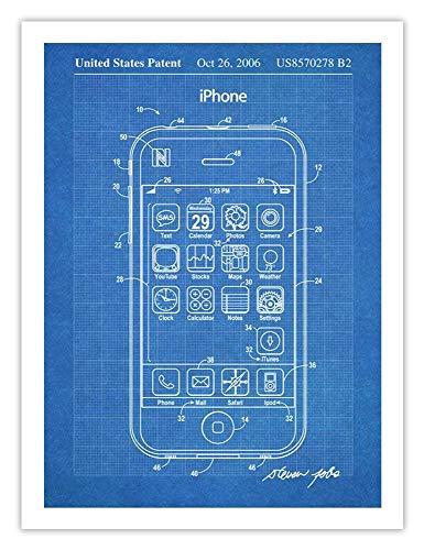iPhone Invention Poster 2006 Patent Art Handmade Giclée Gallery Print Unframed (18x24')(Blueprint)
