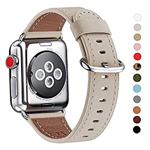 WFEAGL Compatible iWatch Band 38mm 40mm, Top Grain Leather Band for iWatch Series 4,Series 3,Series 2,Series 1,Sport, Edition(38mm 40mm, Ivory White)