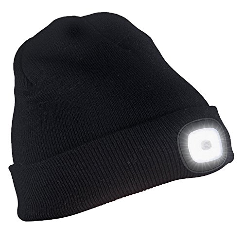 Zlimio Unisex 4LED Knit Hat USB Rechargeable Hands Free Flashlight Cap For Climbing Fishing(Black)