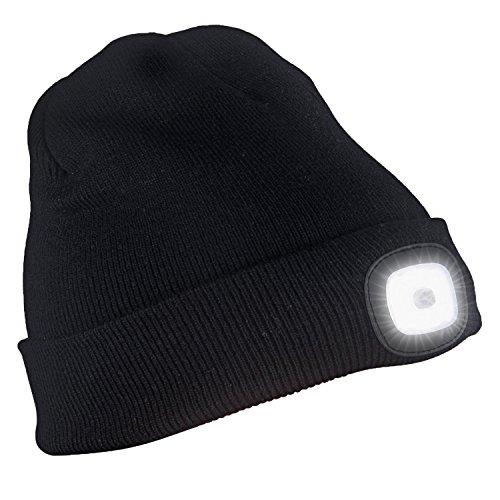 Zlimio Unisex 4LED Knit Hat USB Rechargeable Hands Free Flashlight Cap For Climbing Fishing(Black)