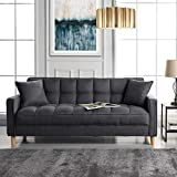 Modern Linen Fabric Tufted Small Space Living Room Sofa Couch (Dark Grey)