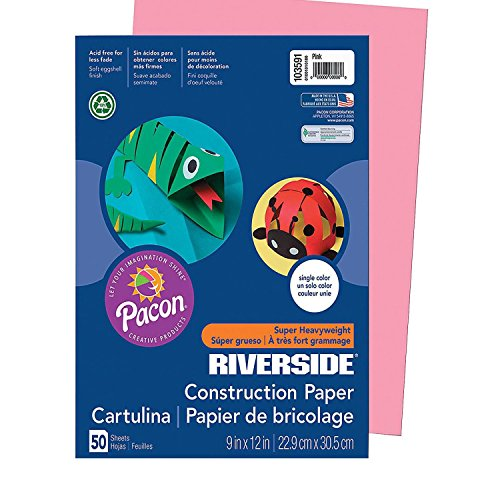 FEBOT Riverside Construction Paper - Pink (With Sticky (12' Pink 50 Sheets)