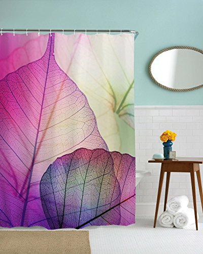 Get Orange Macro Leaf Veins Tissue Pattern Cells Minimalist Foliage Plant Artsy, Fabric Bathroom Decor Set with Hooks 72X72 Inch
