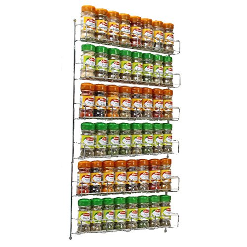Neo 36pc Chrome 6 Tier Spice Rack Jar Holder for Wall or Kitchen Cupboard Neo®