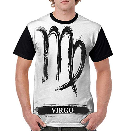 Baseball Women Short Sleeve,Virgo,Virgo Sign with Black and White Monochrome Design Zodiac Symbol Constellation Print,Black White S-XXL Print Round Neck Short Sleeve