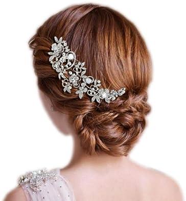 Ever Faith Peigne /à cheveux Cubic Zirconia Cristal 6.6 Inch Bouquet Fleurs Feuilles Clair