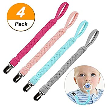 A1 3 St/ück Baby Schnullerkette Clip Unisex-Schnullerketten f/ür Baby mit Kunststoff Clip Baumwolle Schnullerband Stoff f/ür L/ätzchen Dreieckstuch Sauger Schnuller