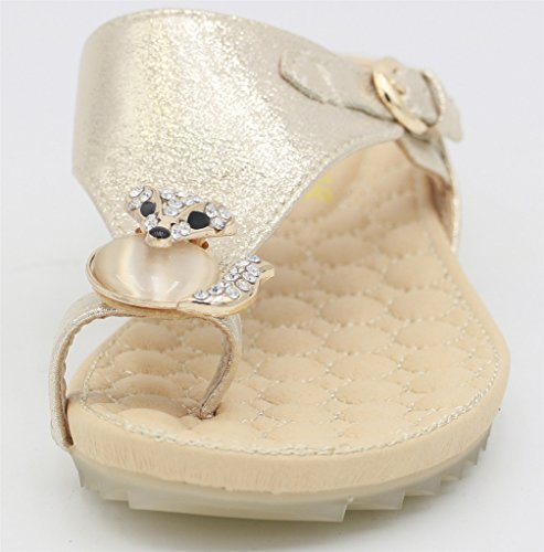AgeeMi Shoes Mujer Hebilla Cuña Sandalias con Diamante de Imitación Gold (EuL10)