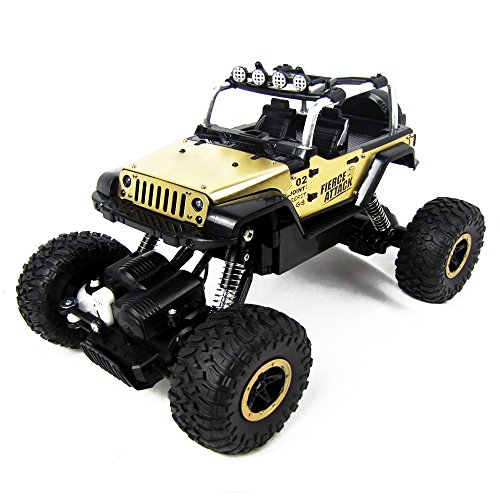 Tuptoel RC Cars 1/18 Scale High Speed RC Truck 4 Wheel Drive Jeep Crawler Truck 2.4Ghz 4WD High Speed Remote Control Racing Cars Electric Fast Race Buggy Hobby Car - Golden