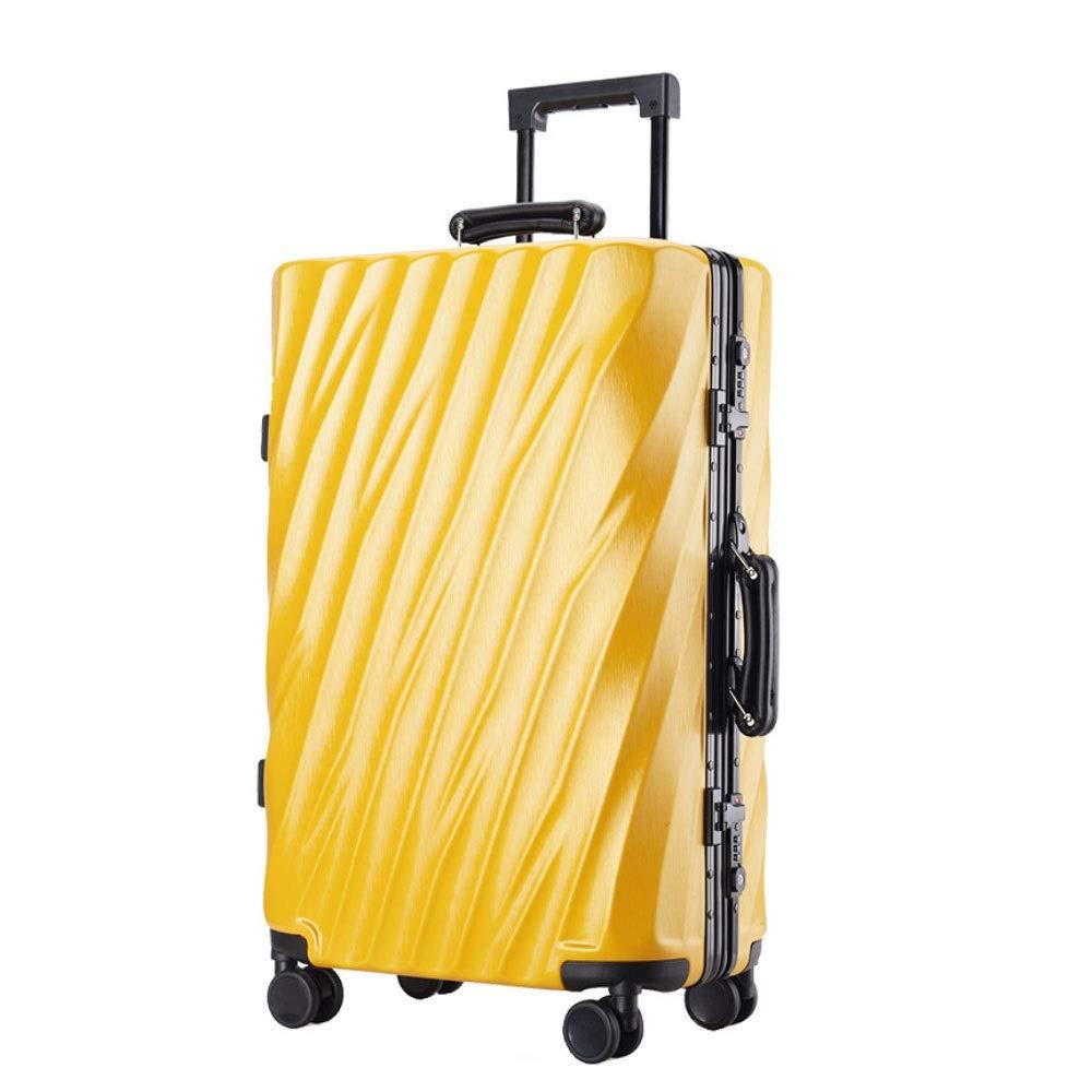 アルミフレームトロリーケースツイルラゲッジユニバーサルホイール搭乗荷物チェックロックボックス(20/24/26/29インチ) (Color : 黄, Size : 29 inch)   B07QXMQNYL