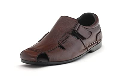 Egoss Men's Brown Leather Casual Sandals: Buy Online at Low Prices in India  - Amazon.in