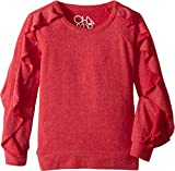 Chaser Kids Girl's Extra Soft Love Knit Ruffled Sleeve Pullover Sweater (Little Kids/Big Kids) Strawberry 14