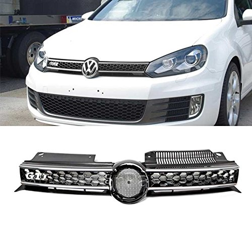 Viogi 1pc ABS Plastic Chrome Main Upper Honeycomb Style Grille w/ GTI Emblem For 10-13 VW Golf/GTI MK6 & 11-14 VW Jetta MK6 Sportwagen/Wagon