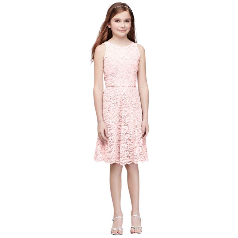 David's Bridal Short Sleeveless Lace Girls Dress Style JB9596, Petal, 10