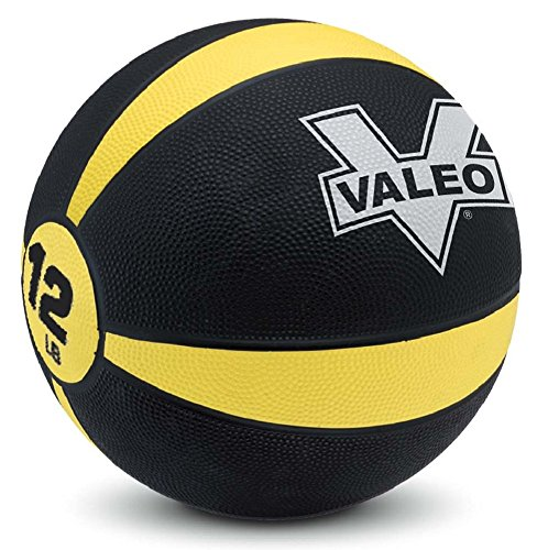 Weighted Rubber Trainer - Valeo 8 lb Medicine Ball With Sturdy Rubber Construction And Textured Finish, Weight Ball Includes Exercise Wall Chart For Strength Training, Plyometric Training, Balance Training And Muscle Build